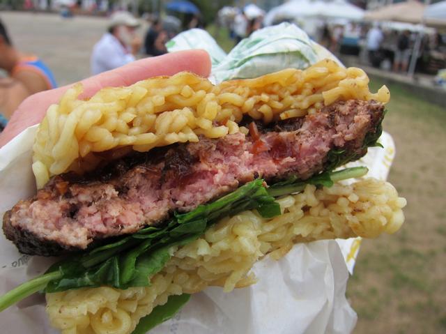 The Ramen Burger. (Photo: Scott Lynch / Gothamist)