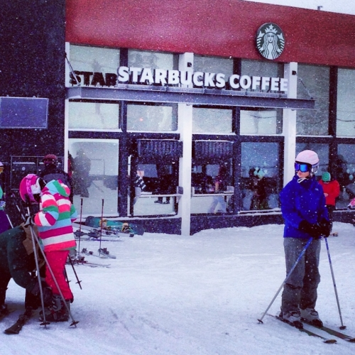 What better way to counteract freezing your ass off on the chairlift than sipping on a caramel macchiato in Squaw Valley, CA. This is Strabucks' first and only ski in/ski out location. (Photo: