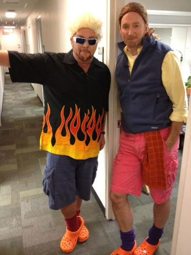 This is a picture Mario Batali Tweeted of himself in full Guy Fieri attire. And that's Chew host Clinton Kelly as Mario Batali. (Photo: