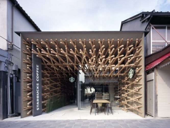 This Starbucks in Fukuoka, Japan was designed by acclaimed Japanese architect Kengo Kuma. The architect apparently wanted to give the impression that the Starbucks was nestled in a tree. (Photo: