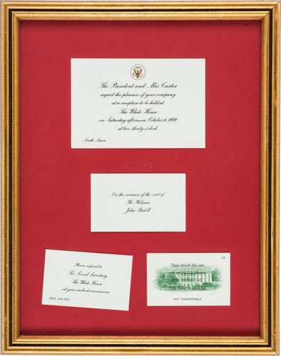 Colonel Sanders' White House Invitation from President Jimmy Carter Opening bid: $100This White House invitation from President Jimmy Carter was for the Colonel and Mrs. Sanders to attend a reception on Oct. 6, 1979, on the occasion of the visit of Pope John Paul II. The envelope in which the invitation was mailed (from the White House) is attached to the back of the frame.