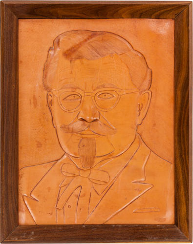 Leather Portrait of Colonel Sanders Opening bid: $50The Leather Portrait of Colonel Sanders is hand-tooled and framed. We know nothing about this portrait, except it is unique. Definitely one of a kind.