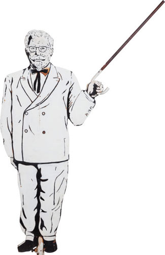 Colonel Sanders Weathervane Opening bid: $500This Colonel Sanders double-sided weathervane is made from lithographed steel. It was at one time common on top of KFC restaurants in the U.S. It likely dates back to the 1960s.