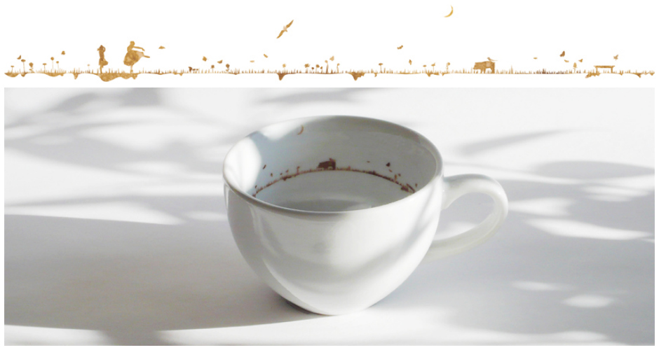 Tiny, perfect landscapes that resemble coffee stain lines are the trademark of this beautifully made, artistic coffee cup. Available at:  Yukihiro Kaneuchi. (Photo:  Yukihiro Kaneuchi)