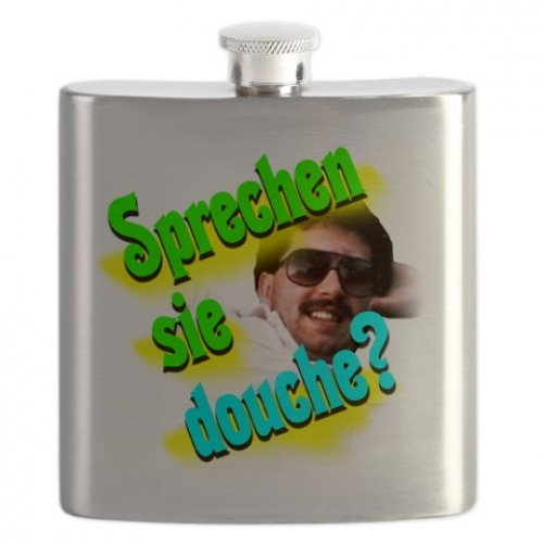 The poster boy flask for supreme douchebaggery. Available at: CafePress)