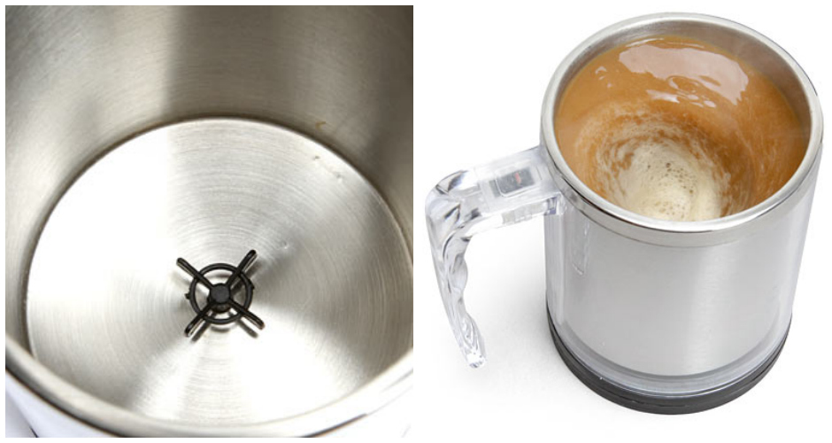 At last, the self-stirring mug. Simply push a button and the rotary disc at the bottom does all your work for you. Perfect for the laziest person you know. Available at:  Think Geek. (Photo:  Think Geek)