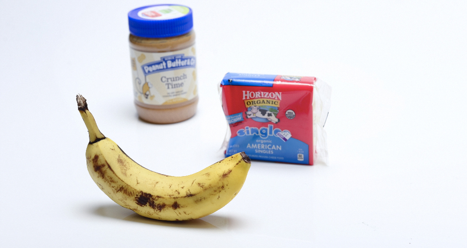 """Kids food #1: """"A banana covered in chunky peanut butter with two slices of American cheese wrapped around it."""""""