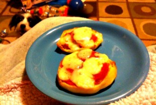 Microwave pizza bagels are cool until your dog attacks your lap. (Photo: This is Photobomb)