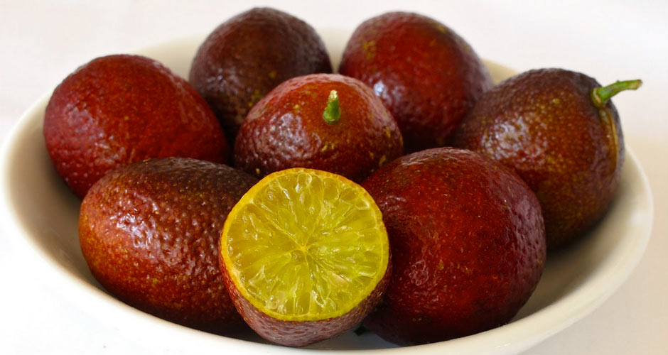 BLOOD LIME This Australian fruit is a cross between the Ellendale Mandarin. To make things even more complicated, the Ellendale Mandarin is itself a cross between an orange and a mandarin. The blood lime is smaller and more sweet than the standard lime, and its flesh is a gorgeous deep red color. Juice squeezed from the fruit has a sharp, crisp, clean flavor.(Photo:
