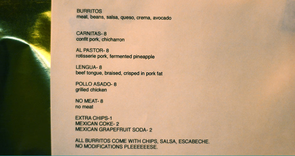 The one-night-only Mission Cantina burrito menu (Photo: First We Feast)