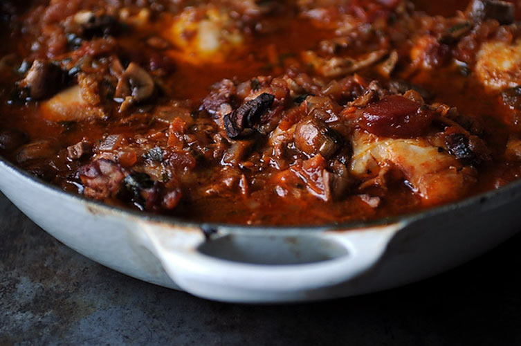 """Hunter's Style Chicken. Also known as chicken cacciatore (or """"chicky-catch,"""" as Tom calls it), this dish will keep you warm during those frigid Pawnee winters."""
