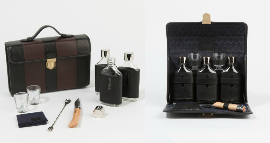 Coach + Billy Reid Kentucky Cocktail Set. This super-luxe traveling cocktail set is for true jet-setters only. The set includes a leather folding case that conceals three leather-wrapped, hand-blown glass flasks; two shot glasses; a folding bar knife; a cocktail spoon and fork; and a cocktail napkin. Sterling silver Coach and Billy Reid engraved caps top each flask. $600.