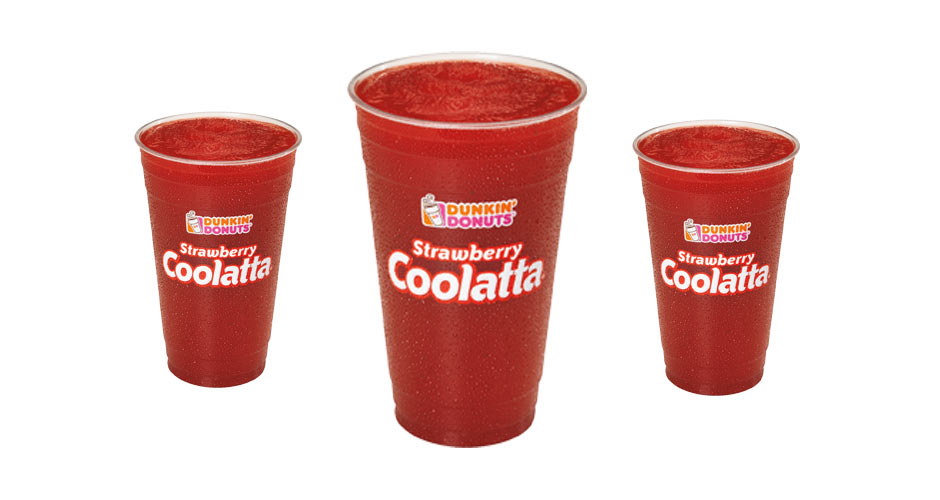 DUNKIN' DONUTS STRAWBERRY COOLATTAA small size of this slushy beverage Dunkin' Donuts)