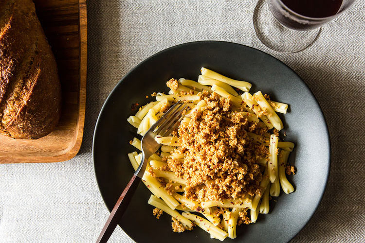 Cavatelli with Asiago Oat Crumbs. A unique pasta with customizable spice and a process that's mostly hands-off—simply endure chill and bake times for the cheesy oat crumbs, then boil some pasta and dig in!