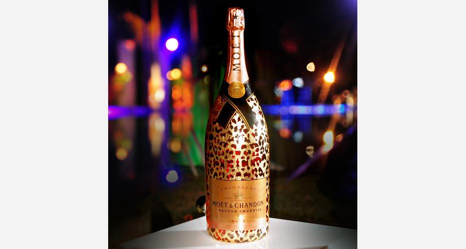 The 6-liter Moët Nectar Impérial Rosé Leopard Luxury Edition Methuselah bottle, leafed in 22-carat gold. Photo: KirillWasHere