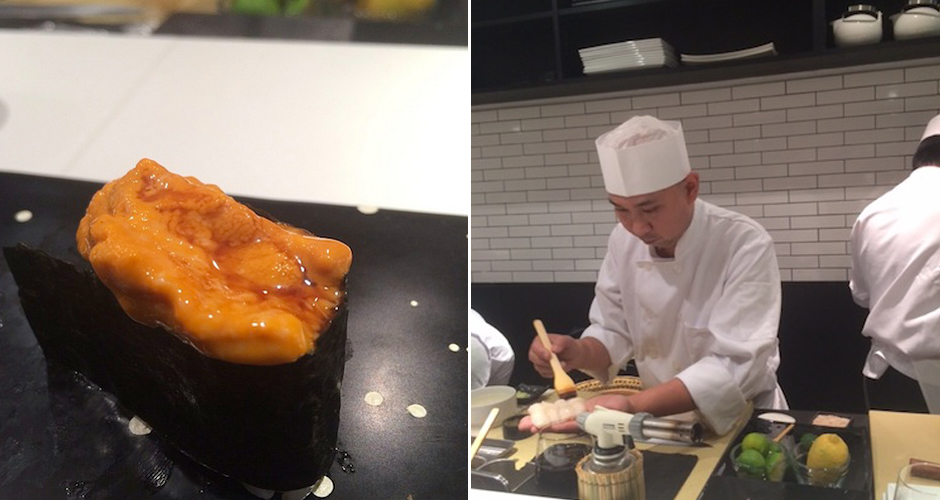 Chef Nakazawa (right) and super-creamy uni. (Photo: Chris Schonberger/