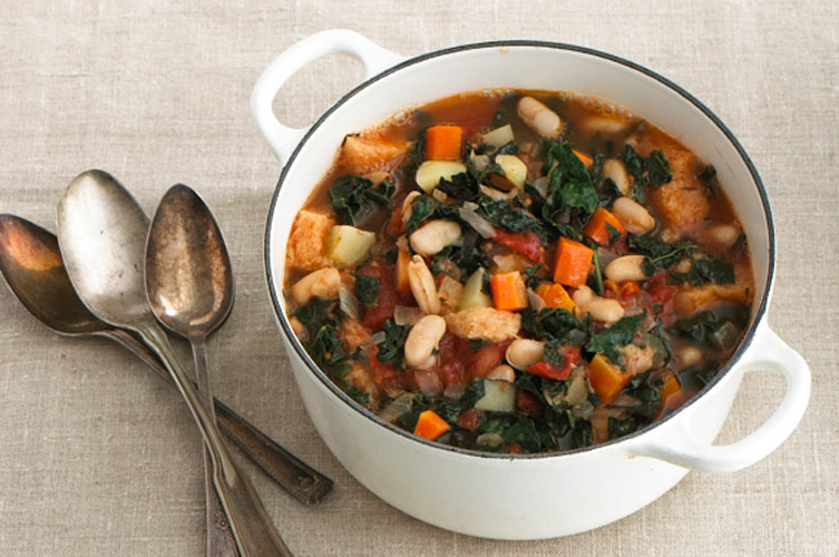 "Ribollita. Ribollita, Italian for ""reboiled,"" is a classic Tuscan rustic vegetable soup thickened with stale bread. It's cheap, with cannellini beans serving as the main protein source, and easy enough to whip up on a weeknight."