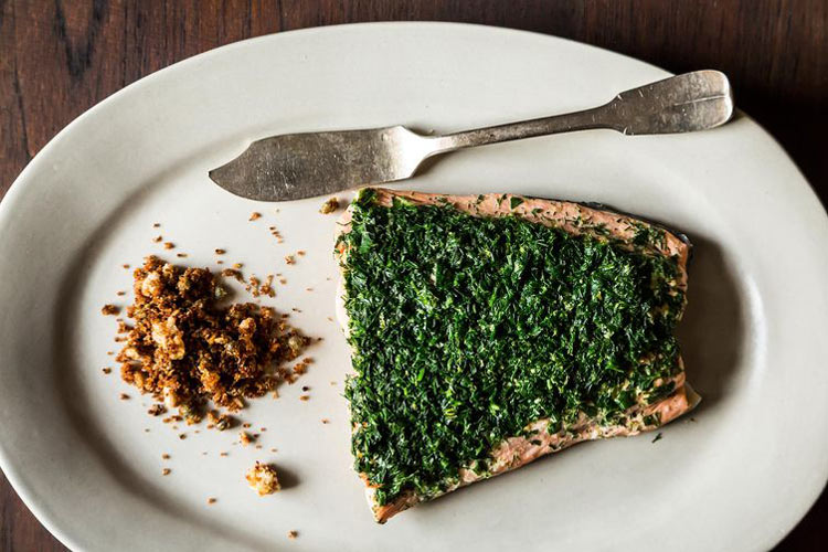 Aromatic Poached Salmon with Rye and Caper Breadcrumbs. As showy as whole-poached salmon can be, the breadcrumbs are the real star of the meal. They're intensely crunchy, punchy and flavorful against the lemony, gin-spiked salmon.
