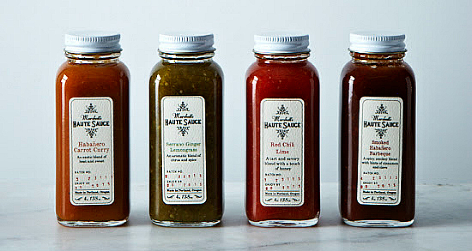 Haute Sauce Collection. This handsome selection of Portland, OR-made hot sauces includes funky flavors like Habanero Carrot Curry, Serrano Ginger Lemongrass, Red Chili Lime, and Smoked Habanero Barbecue sauces. $25 for four jars.