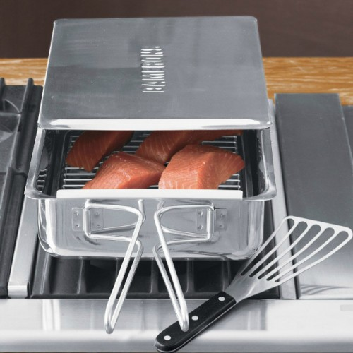 Stove-Top Smoker. This stainless steel contraption smokes food indoors right on your stovetop. Because who doesn't want to smoke salmon, baby back ribs, and brisket in the comfort of his kitchen? $34.