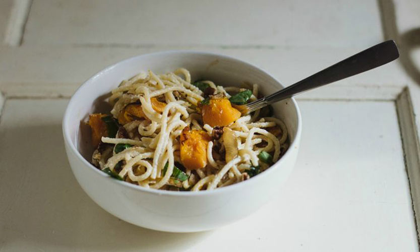 Goat Cheese Pasta with Caramelized Onions and Roasted Butternut Squash. Like fall in a bowl thanks to sage and butternut squash, plus the addition of tart goat cheese and crunchy pecans to make everything exciting.