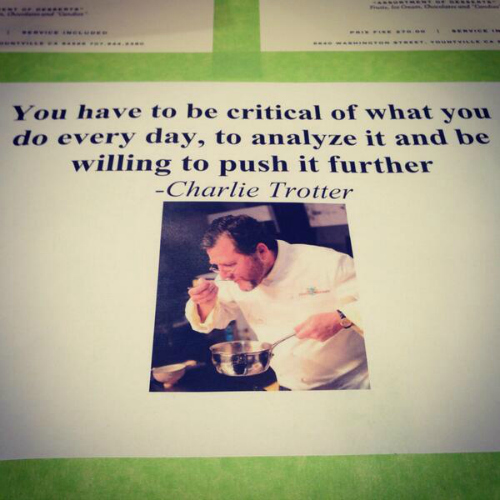 The French Laundry shares a bit of the late great Charlie Trotter's cooking philosophy. (Photo: Twitter)