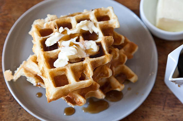 Aretha Franklin's Waffles of Insane Greatness. The cornstarch in this waffle batter helps tamp down gluten formation, making these waffles silky and moist inside with a crust as thin and crisp as an eggshell. Leslie would approve.