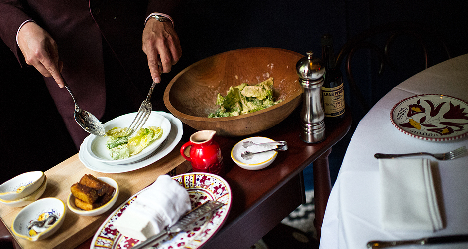 "Krieger says: ""This is from the New York Times review of Carbone, and it's of their tableside Caesar salad service...no joke."""