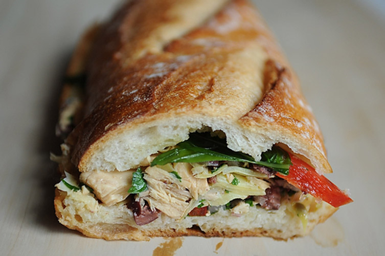 Pan Bagnat: Le French Tuna Salad Sandwich. A decidedly Nicoise tuna salad is pressed between two halves of a baguette and left in the fridge overnight, which allows all of the juices to soak into the bread (you could use wheat if you were really committing to the healthy thing). The resulting sandwich is a glorious riot of colors, flavors, and textures.