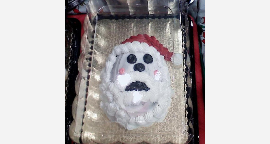 From the looks of it, even Santa thinks the black lipstick was a little much. (Photo: Cake Wrecks)