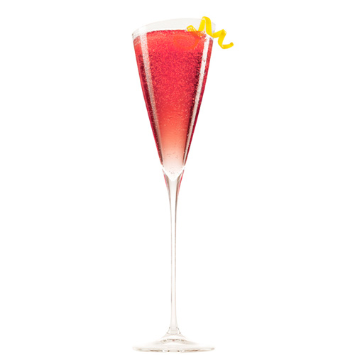 Chambord Kir Royale. Class up any party by serving this elegant two-ingredient drink. Just mix some sweet Chambord with Champagne. If you want to get fancy, add a raspberry and a lemon twist.