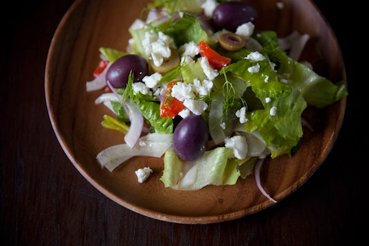 Greek Salad with Fennel. There's a tang to the vinaigrette to balance out the mellow saltiness of the feta; crisp, crunchy veggies; and of course plenty of olives. Adding fennel takes this salad to the next level. Add chicken or simply top it off with a bit more feta and a slice of bread to make it a meal.