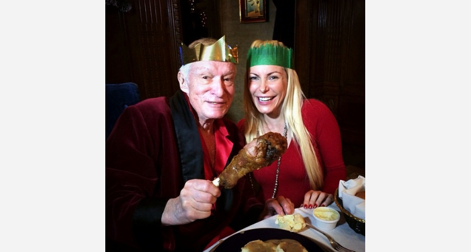 Hef enjoyed an unsurprisingly indulgent Christmas meal at the Playboy Mansion. (Photo: Instagram)
