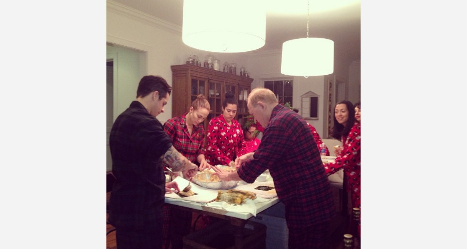 JLo's got that matching jammie flow while cooking Christmas dinner. (Photo: Instagram)