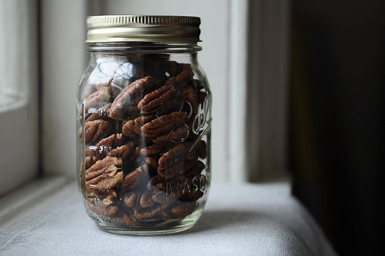 Crispy Spice-Brined Pecans. These spiced pecans—unlikes their sugar-shellacked counterparts—are perfectly salted and spiced from within and dried to a crisp. Put them in a mason jar and tie them with some ribbon for a simple, easy gift.