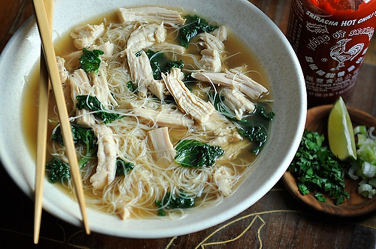 Turkey Pho. Warm spices—coriander, cloves, star anise, cinnamon—are toasted beforehand to amp up the rich broth. Chopped kale is an unusual addition that adds some welcome heft, and turkey is decidedly lighter than the all-beef versions we're accustomed to.