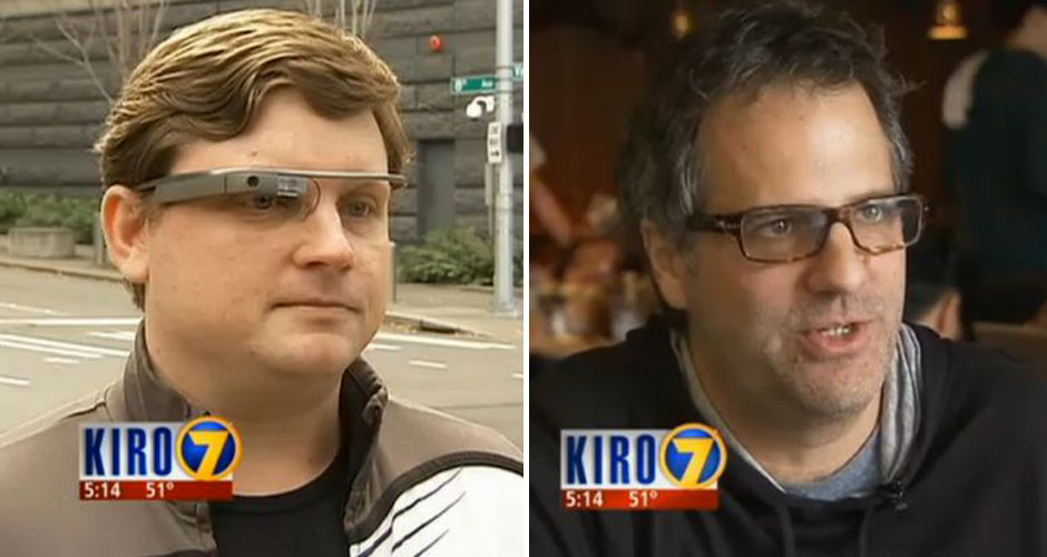Early Google Glass adoptee  Nick Starr and Lost Lake Cafe owner David Meinert. (Photo: Kiro)