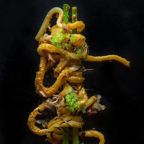 Just some awesome-looking tangled udon on chopsticks. Photo: