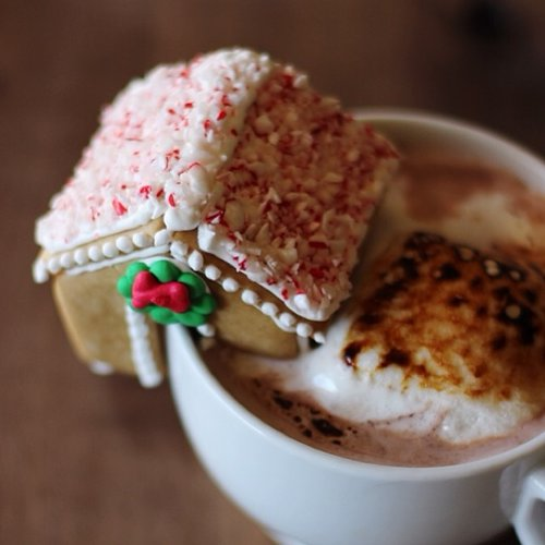 Mini mug-side gingerbread houses are the most adorable thing you can put on your hot drink this holiday season. Photo: