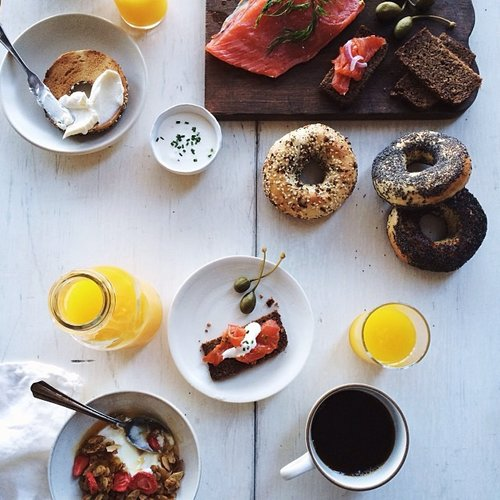 Once again, nothing beats a bagel, cream cheese, and smoked salmon brunch spread. Photo:
