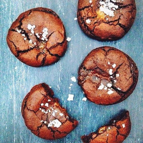 Salted caramel double chocolate cookies. Gimme some. Photo: