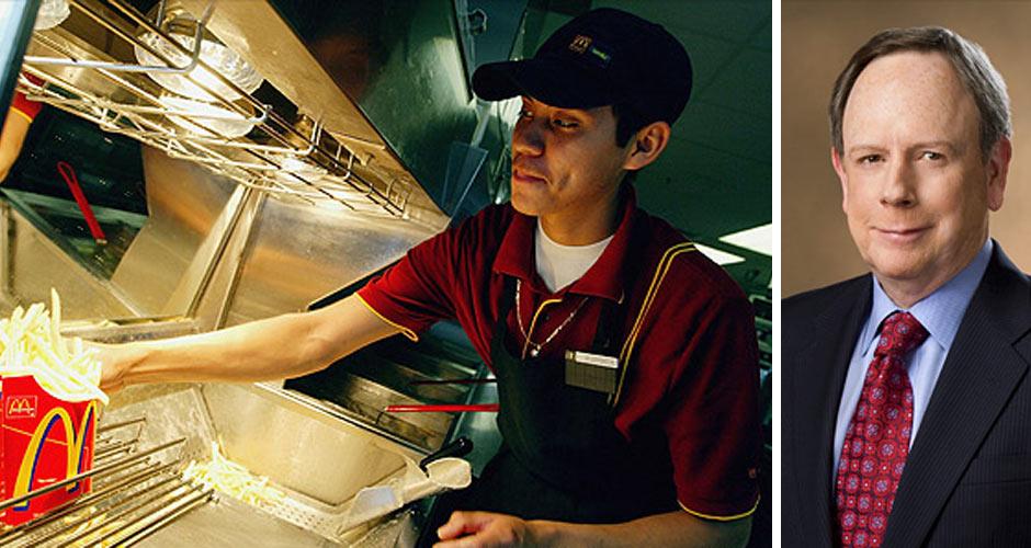 A McDonald's employee; McDonald's CEO Jim Skinner (Photos: