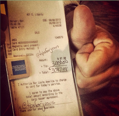 The first Instagrammed tip: September 8, $3,000 at Bar Louie in Ann Arbor, MI. (Photo: TipsForJesus Instagram)