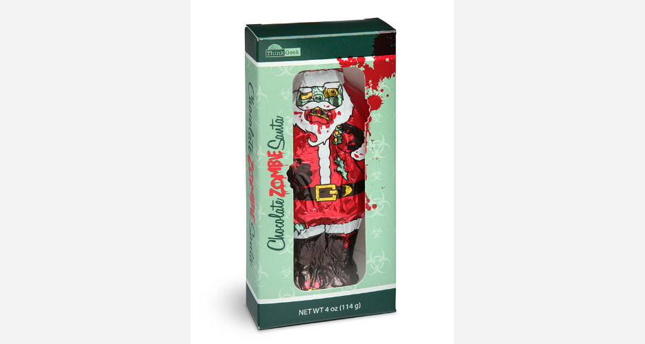 This unabashedly violent chocolate Santa didn't even bother wiping the blood off his beard. Photo: (Trend Hunter)