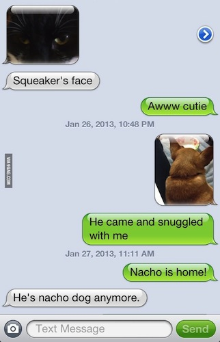 FYI: This is what happens when you return a lost dog named Nacho. (Photo: 9gag)