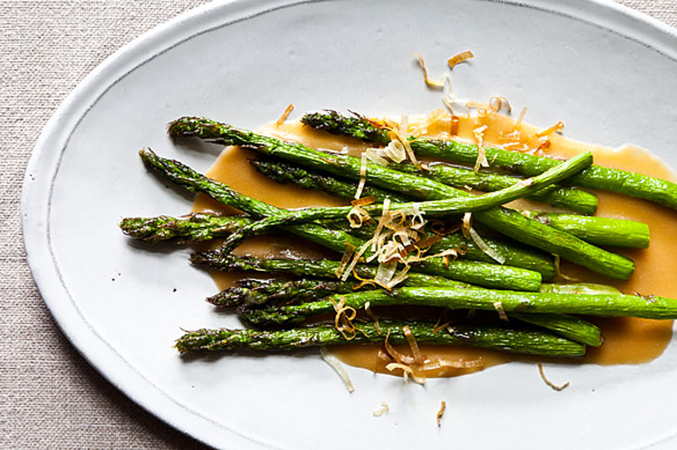 Nobu's Fried Asparagus with Miso Dressing. When you dip asparagus in hot oil, you won't recognize it. The tips frizzle and the stalks turn vivid green and tender in just a minute or two under the oil. Douse it in homemade miso sauce to make it even more unrecognizably delicious.