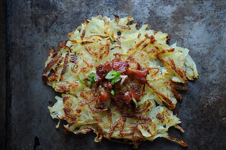 Horseradish Hash Browns. Traditional hash browns get a sharp kick from horseradish, and then are served with a tangy bacon vinaigrette. Top with a fried egg, seared hangar steak, or just devour them by themselves.