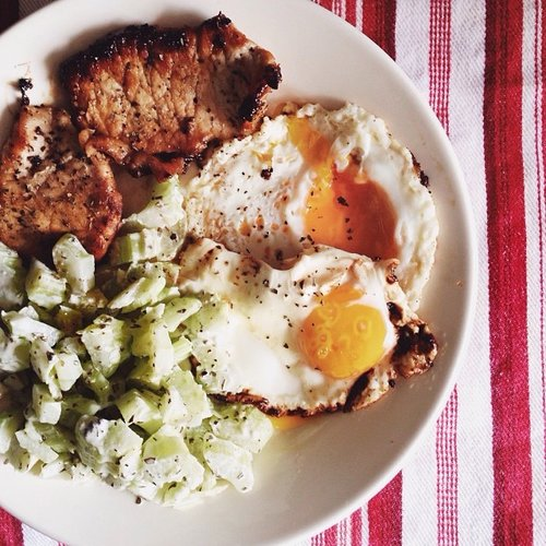 Pork chops, eggs, and celery salad. Talk about a hearty brunch. Photo: