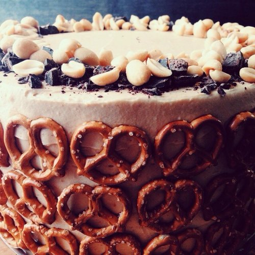 Did you know bejeweling cake with pretzels was a thing? #revolutionary. Photo: