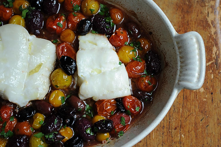 Roast Cod with Little Tomatoes and Assorted Olives. This is simple and foolproof. The mellow flavors of the cod are balanced by the acidity and sweetness of the roasted tomatoes and the salty, pungent olives.